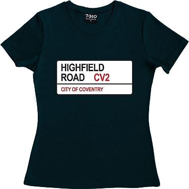 Coventry City: Highfield Road CV2 Road Sign Women's T-Shirt: Amazon