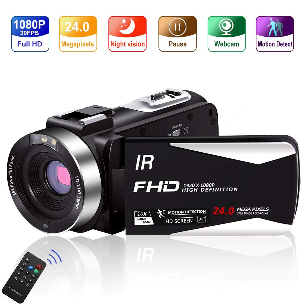 Video Camera Vlogging Camera Camcorder Full HD 1080P 30FPS 24.0 MP IR Night Vision YouTube Camera Supports Time Lapse & Motion Detection Vlog Camera with 3'' LCD Screen Remote Control (5IA) by LINNSE