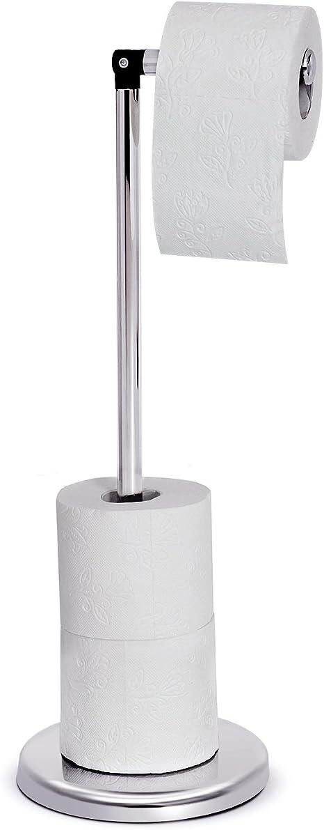 f/ür Bis Zu 5 Toilettenpapierrollen Chromstahl Silber 55x19CM Klopapierhalter Stehend Tatkraft Ingrid Toilettenpapierhalter St/änder Rollenhalter WC