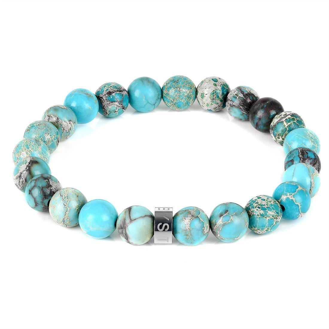 Three Keys Jewelry 8mm Blue Sea Sediment Chrismatite Beads Bracelet Handmade Healing Beads Meditation Energy Stretch Bracelet Unisex 7'' GB-004