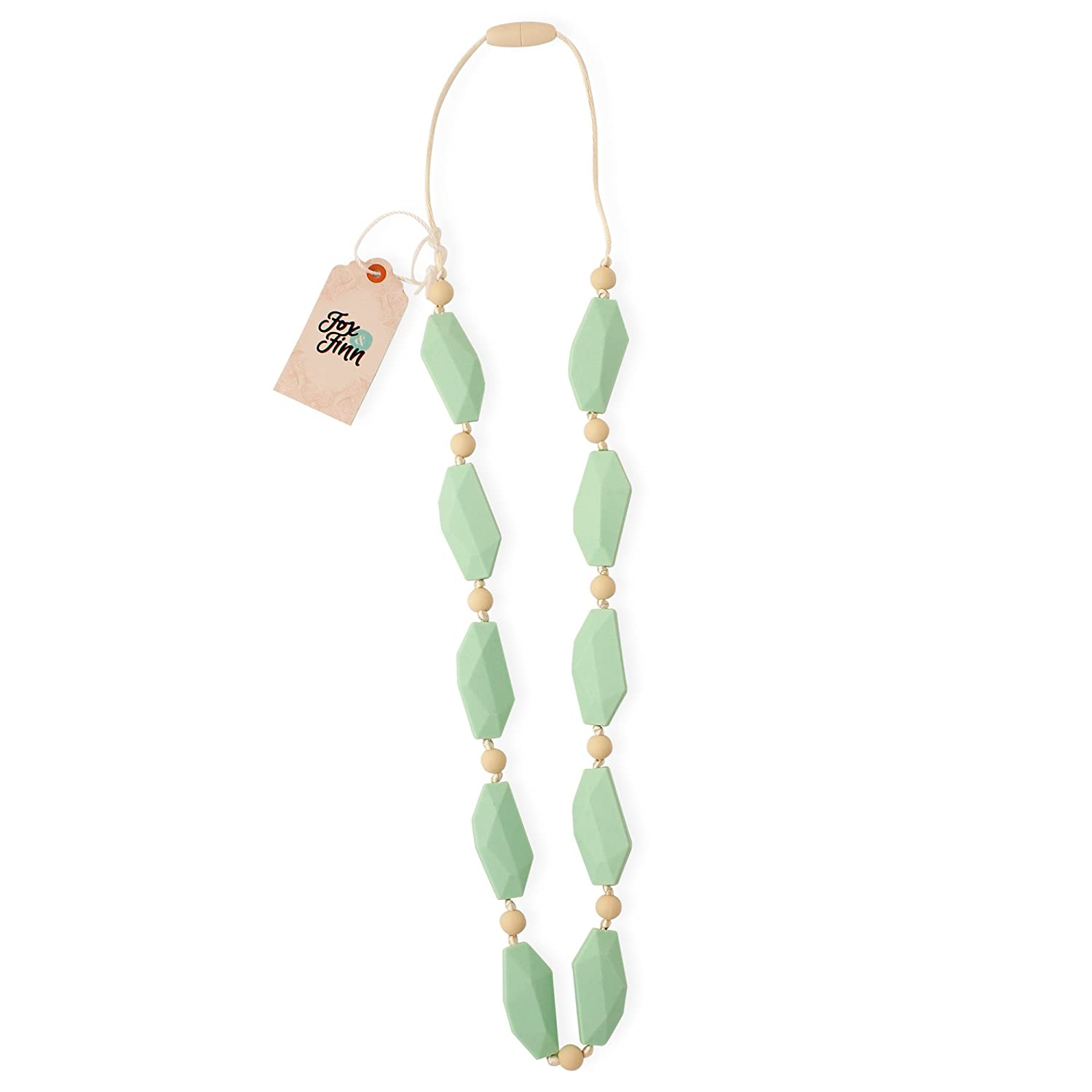 Fox and Finn 'Sophia' Silicone Teething Necklace for Babies | Safety Knotted Silk Rope | Does Not Pull Out Hair | 14 Inch Drop (mint gelato) by Fox and Finn   B010HYL912