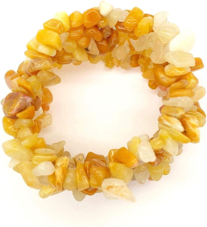 Pulsera de piedra de calcita amarilla natural de joyería elegante - piedra de protección