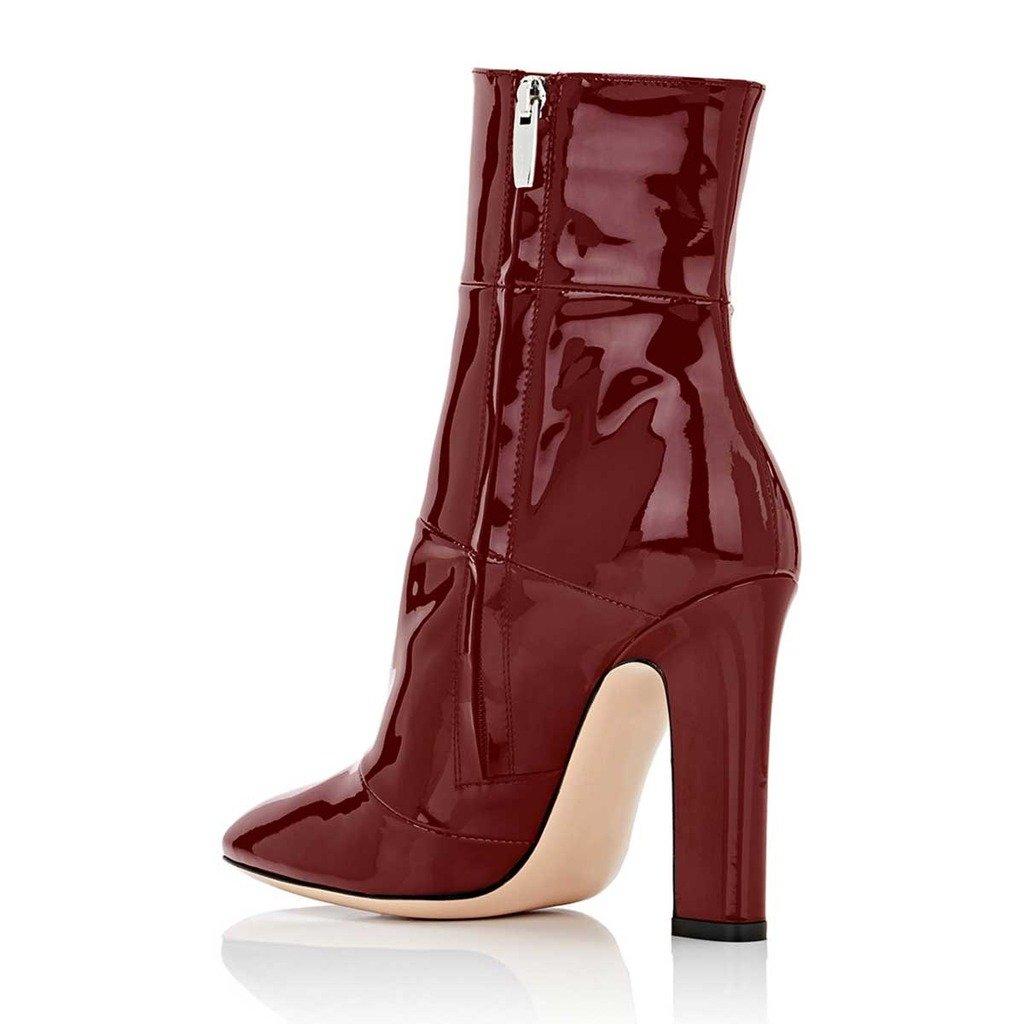 FSJ Women Retro Chunky High Heel Ankle Boots Pointed Toe Booties with Side Zipper Size 4-15 US B01LX136RU 5 B(M) US|Wine