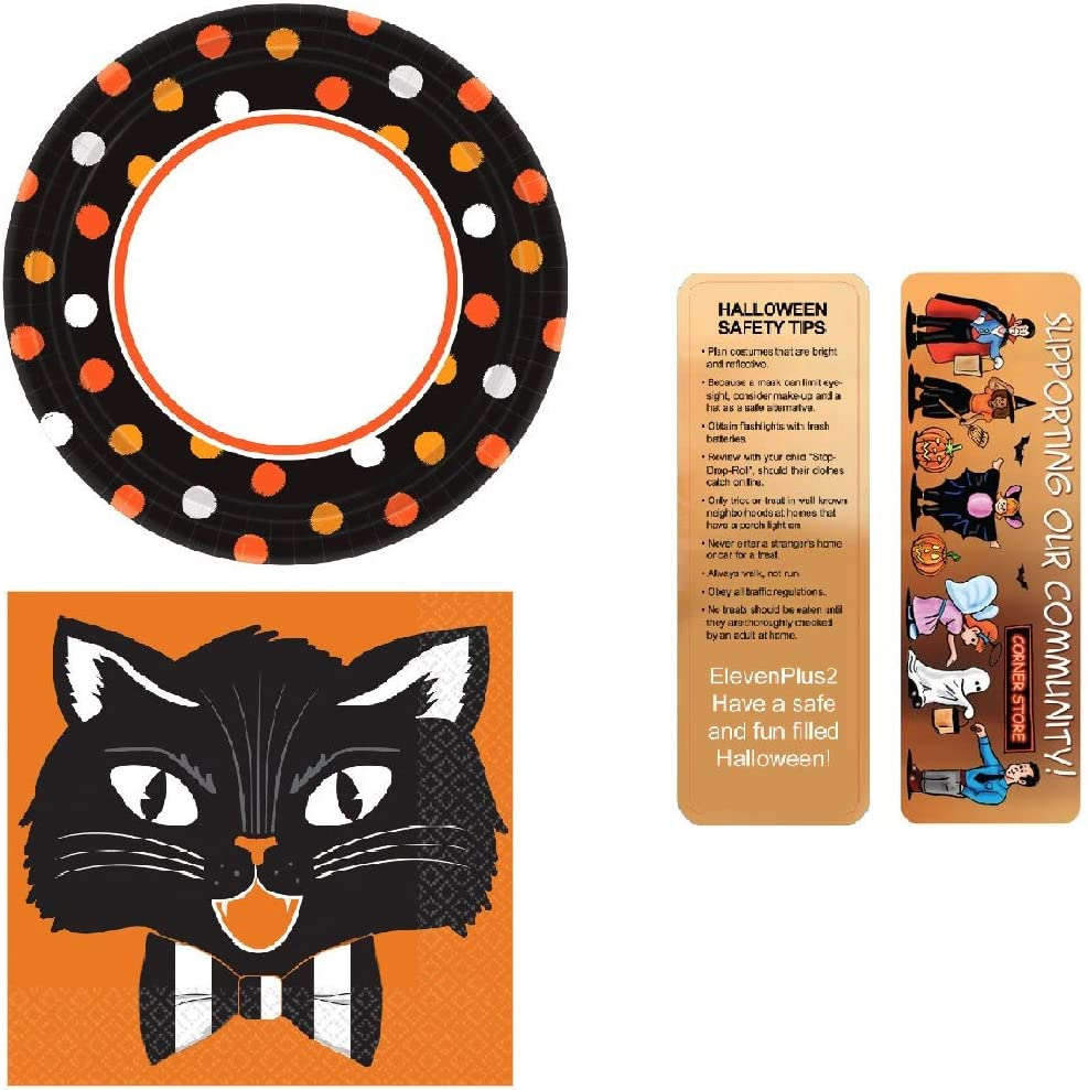 Halloween Cat Plates and Napkin Sets