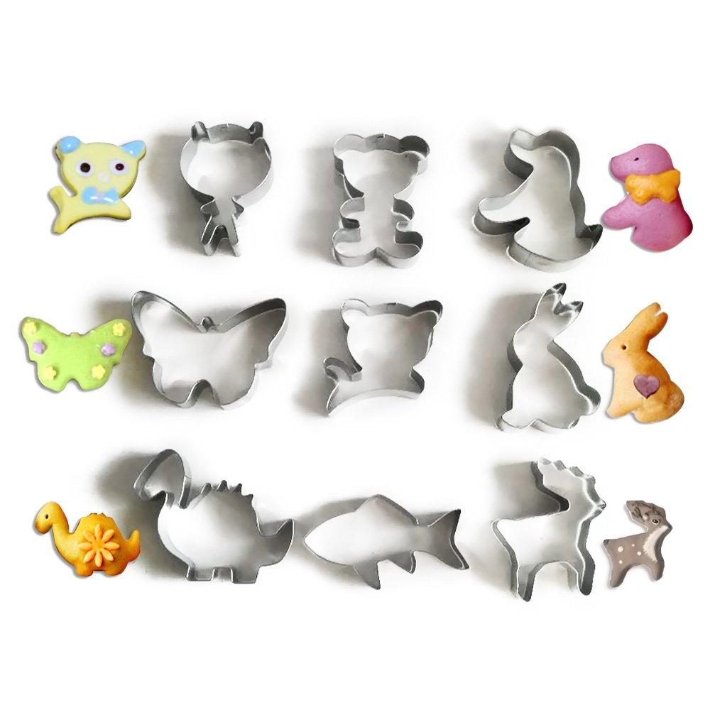 baidercorステンレススチールクッキーカッターAssortedセットof 9 CR18070010_1 B07F6QK7C9  Fish Dinosaur