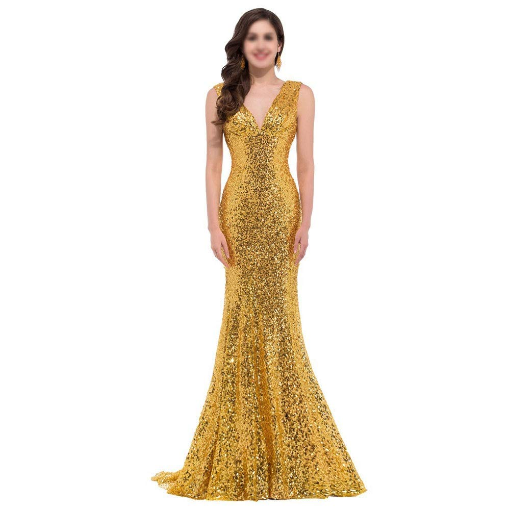 golden ProBikeUS Women's Sequin Mermaid Formal Long Gown Party Wedding Dress