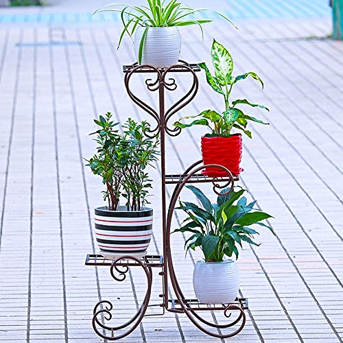 UNHO Metal Plant Stand Flower Holder Garden Decor with 4 Tier Shelves for Indoor and Outdoor Bronze by UNHO