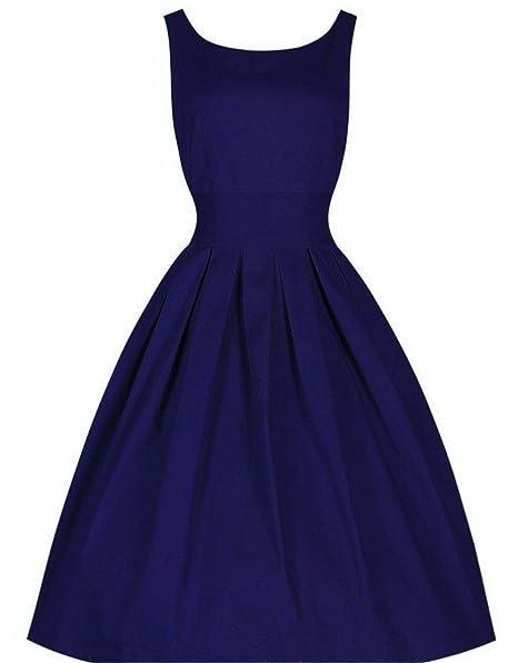 Amazon.com: CindyCI NEW venda quente do verão vestido longo do vintage estilo Audrey Hepburn retro vestido de baile vestido de pura balanço cintura fina ...