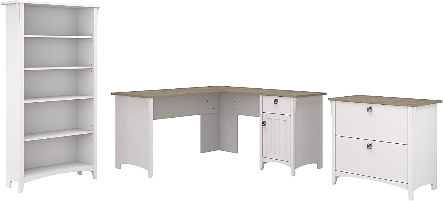 Bush Furniture Salinas L Shaped Desk with Lateral File Cabinet and 5 Shelf Bookcase, 60W, Pure White and Shiplap Gray