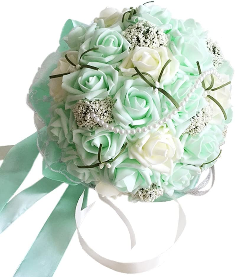 MerryJuly Romantic Wedding Bride Holding Bouquet Roses with Crystal Ribbon Artificial Foam Flower Bouquet (Mint Green)
