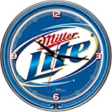 Miller Lite Chrome Double Ring Neon Clock, 14""