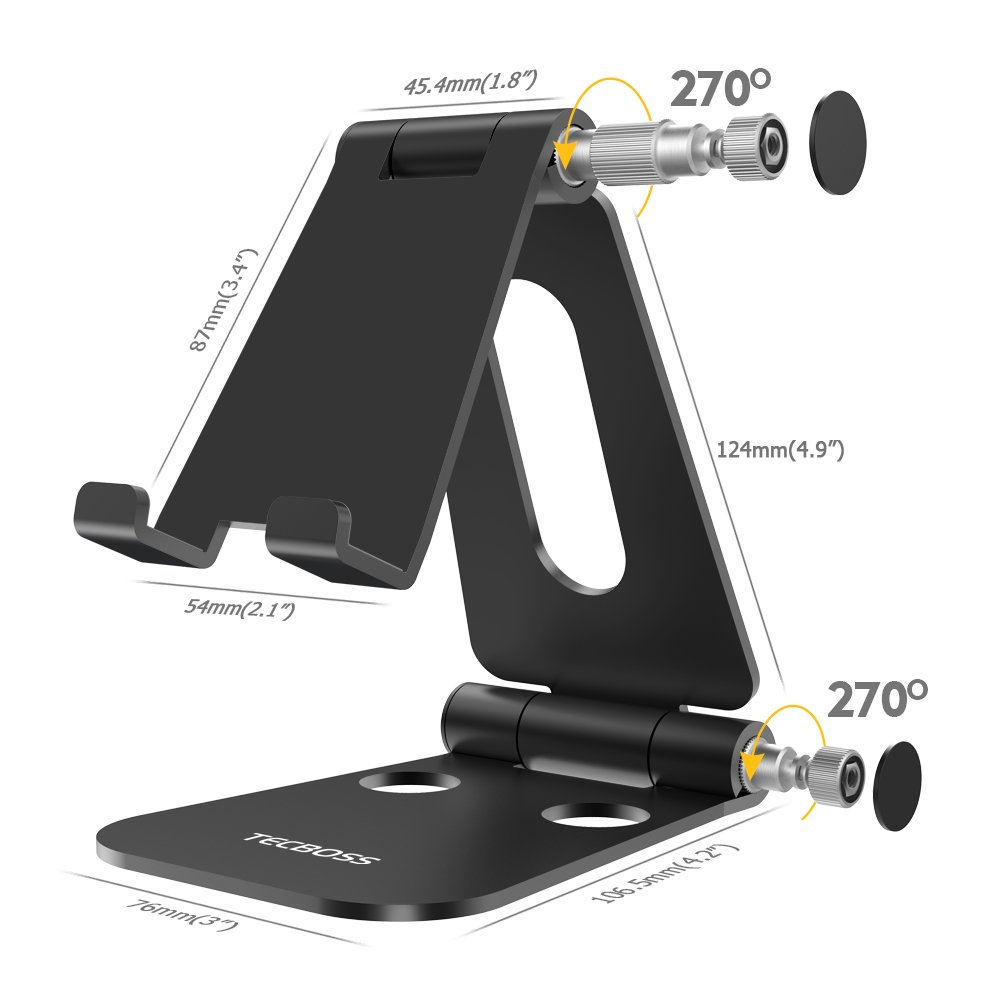 (2 in 1)Tecboss Tablet Stand, Multi-Angle Adjustable Desktop Cell Phone Stand Holder for Nintendo Switch, iPad mini Air 2 3 4 Pro, iPhone 6 7 8 X Plus - Easy Adjust & Take Anywhere by Tecboss (Image #4)