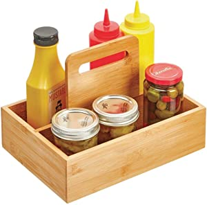 mDesign Bamboo Kitchen Condiment Storage Organizer Tote with Built-In Handle for Pantry, Cabinet or Refrigerator - Organizer for Individual Packets, Ketchup, Mustard, Mayonnaise - Natural Finish