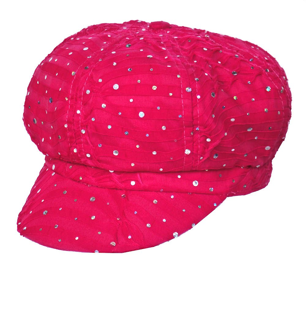 Turban Plus Chemo Hat Glitter Sequin Hot Pink Newsboy Fitted for Women with Cancer Chemo Hair Loss