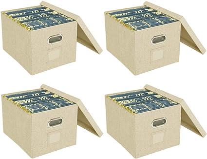 ATBAY Caja de archivadores de almacenamiento con tapas, gran ...