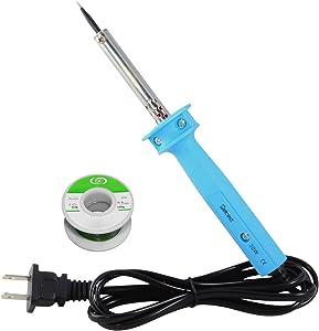 Delcast 30 Watt Precision Tip Soldering Iron with Rosin Core Solder 63/37 Leaded Electronics Solder, 0.6mm (100 g / 3.5 oz)
