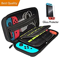 Carrying Case for Nintendo Switch, Portable Travel Handle Bag with 20 Game Card Slot Holder, Bundled with Accessories Tempered Glass Screen Protector.
