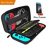 Carrying Case for Nintendo Switch, Portable Travel Handle Bag with 20 Game Card Slot Holder, Bundled with Accessories Tempered Glass Screen Protector. Review