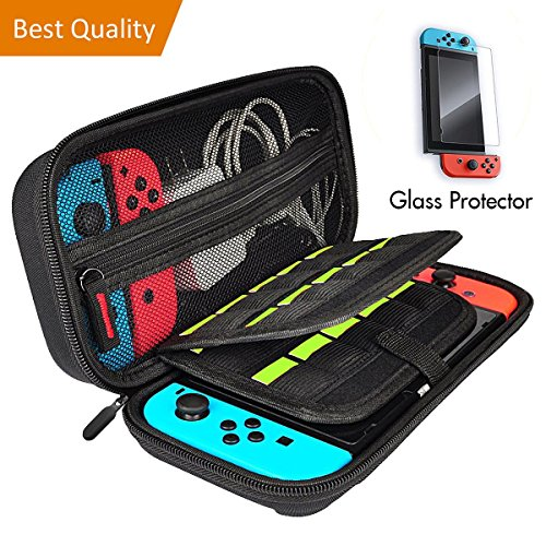 Carrying Case for Nintendo Switch, Portable Travel Handle Bag with 20 Game Card Slot Holder, Bundledwith Accessories Tempered Glass Screen Protector.
