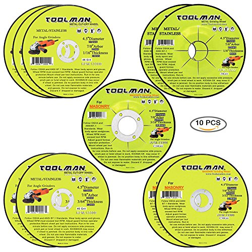 Toolman Premium Cut Off Cutting Wheel Universal fit 10pc Set for metal and stainless steel works with DeWalt Makita Ryobi by Toolman 47