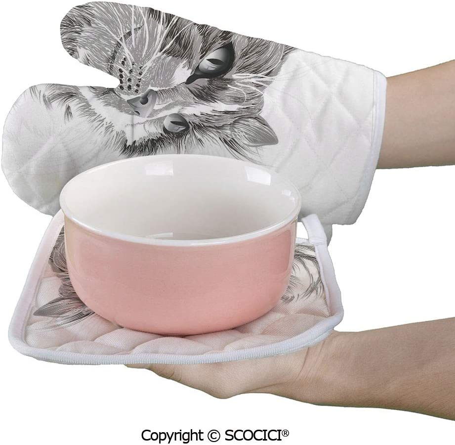 SCOCICI Oven Mitts Glove - Cat Portrait Furry Cute Kitten Domestic Meow Pet Drawing Illustration Heat Resistant, Handle Hot Oven Cooking Items Safely