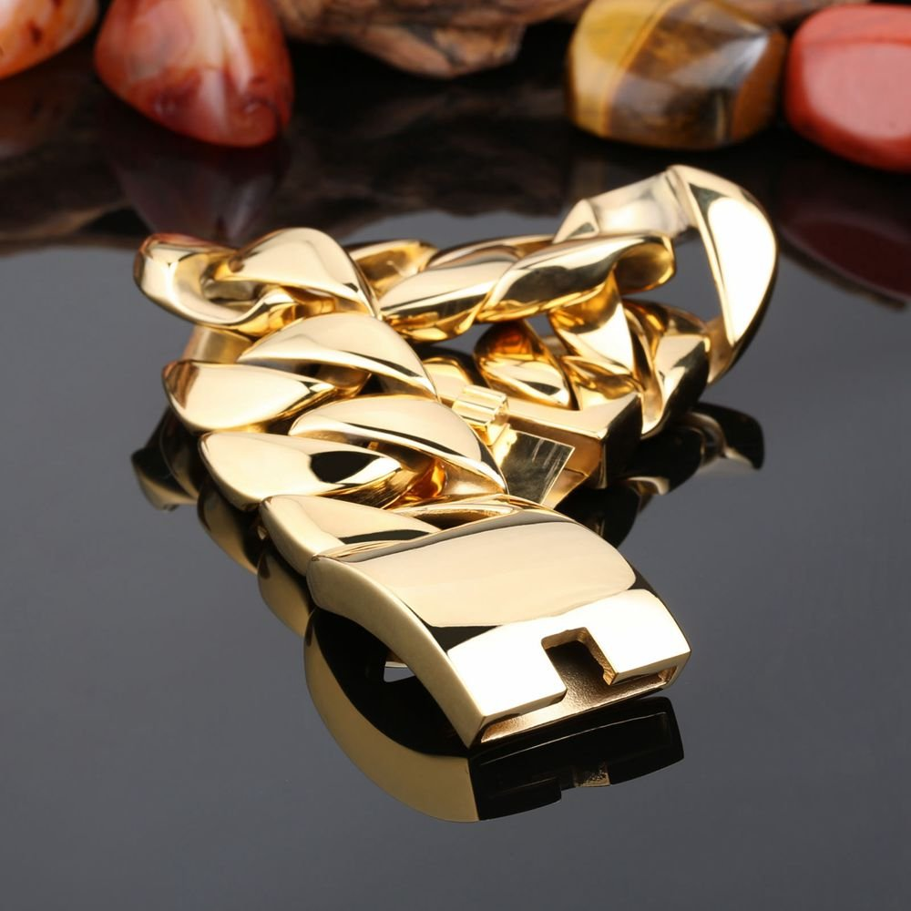 NELSON KENT Large Heavy Stainless Steel Bracelet Link Wrist Gold Biker for Men with Charm Clasp