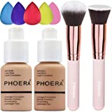 Phoera Foundation 104 and 105,Hilareco Full Coverage Foundation Set, Foundation Brush Powder Brush,5 Sponge Makeup…