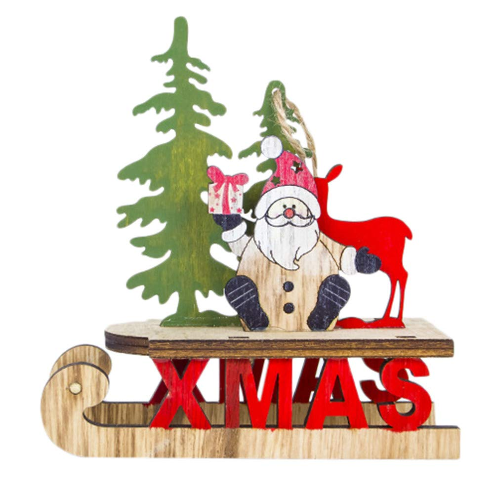 Christmas Tree Decorations Clearance,Jchen(TM) Merry Christmas Santa Christmas Tree Cute Wood Sleigh Pendant Gift Home Hanging Decorations (A)