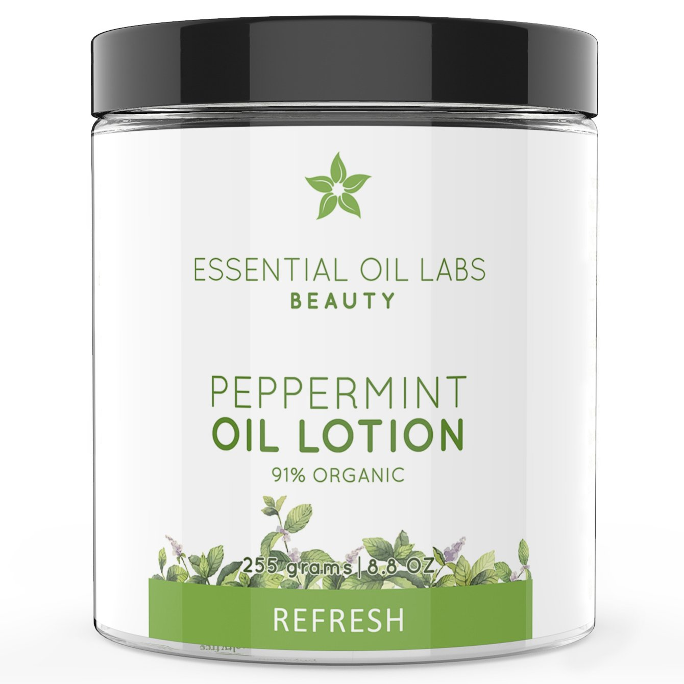 Essential Oil Labs Beauty 'Refresh' Peppermint Oil Lotion 8.8 oz, 91% Organic Ingredients, Refreshing Lotion Infused with Peppermint Essential Oil, Moisturizing Relief by Essential Oil Labs