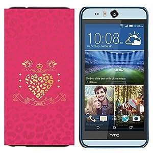 TECHCASE---Cubierta de la caja de protección para la piel dura ** HTC Desire Eye ( M910x ) ** --Oro Corazón rosado brillante