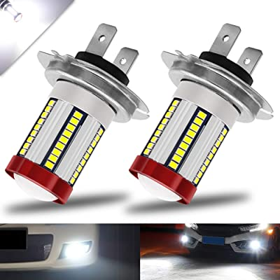 BOODLIED H7 LED Fog Light Bulbs 66-EX 2016 SMD Chips with Lens Projector Motorcycle LED Headlight Bulbs DRL.Xenon White.2-Pack.: Automotive