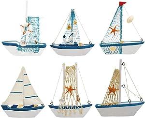 Wooden Sailing Boat, Wisonique 6 Pcs Mini Sailing Boat Model, Vintage Nautical Handmade Wooden Sailboat Decoration, Mini Decorative Sailboat Model for Home Ornament