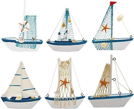 4PCS Mini Sailboat Model Ornament Mediterranean Fishing Boat Style Wooden Craft
