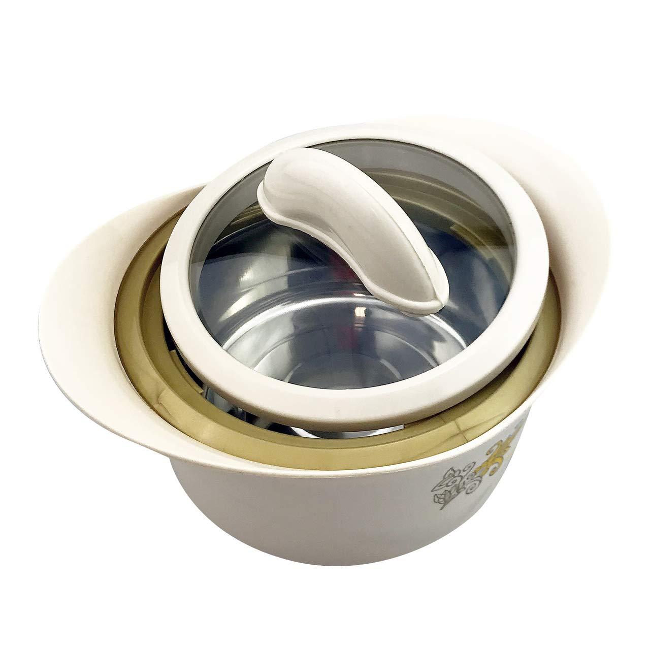 a doppia parete plastica Ciotola termica da 400 ml con coperchio in vetro con inserto in acciaio inox beige acciaio inox