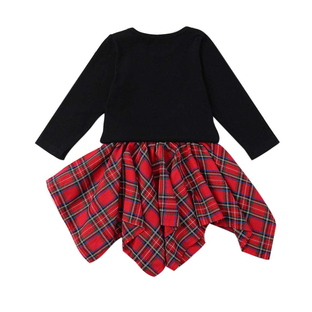2Pcs Toddler Kids Baby Girl Christmas Outfits Long Sleeve T-Shirt Tops Plaid Skirts Set Winter Fall Clothes