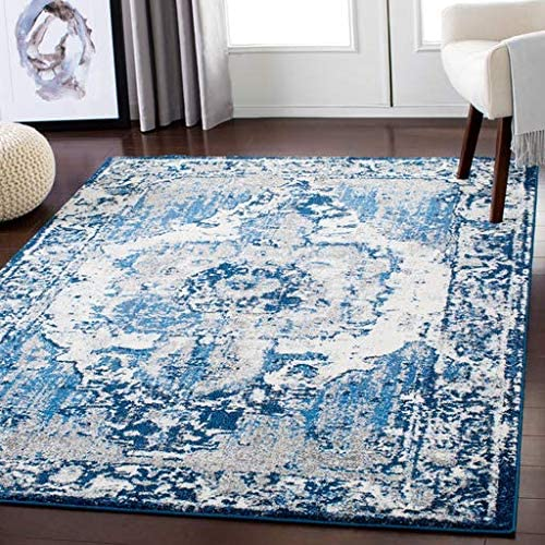 Hartshorne 7 10 x 10 3 Rectangle Updated Traditional 100 Polypropylene Navy Dark Blue Pale Blue Medium Gray Charcoal Ivory Area Rug