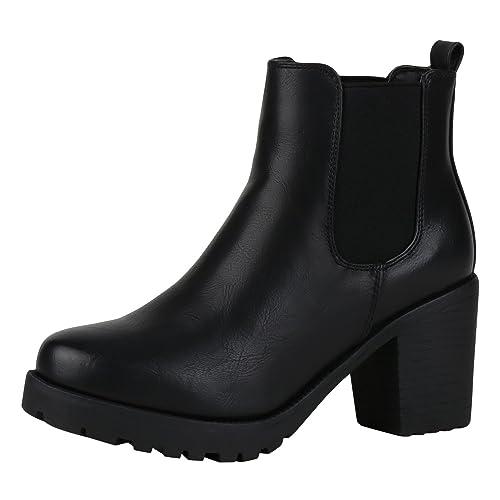 napoli-fashion Damen Stiefeletten Chelsea Boots Blockabsatz Profilsohle Schuhe | Jennika®