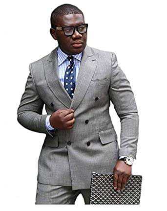 Botong Grey Double Breasted Wedding Suits for Men 2 Pieces Men Suits ...