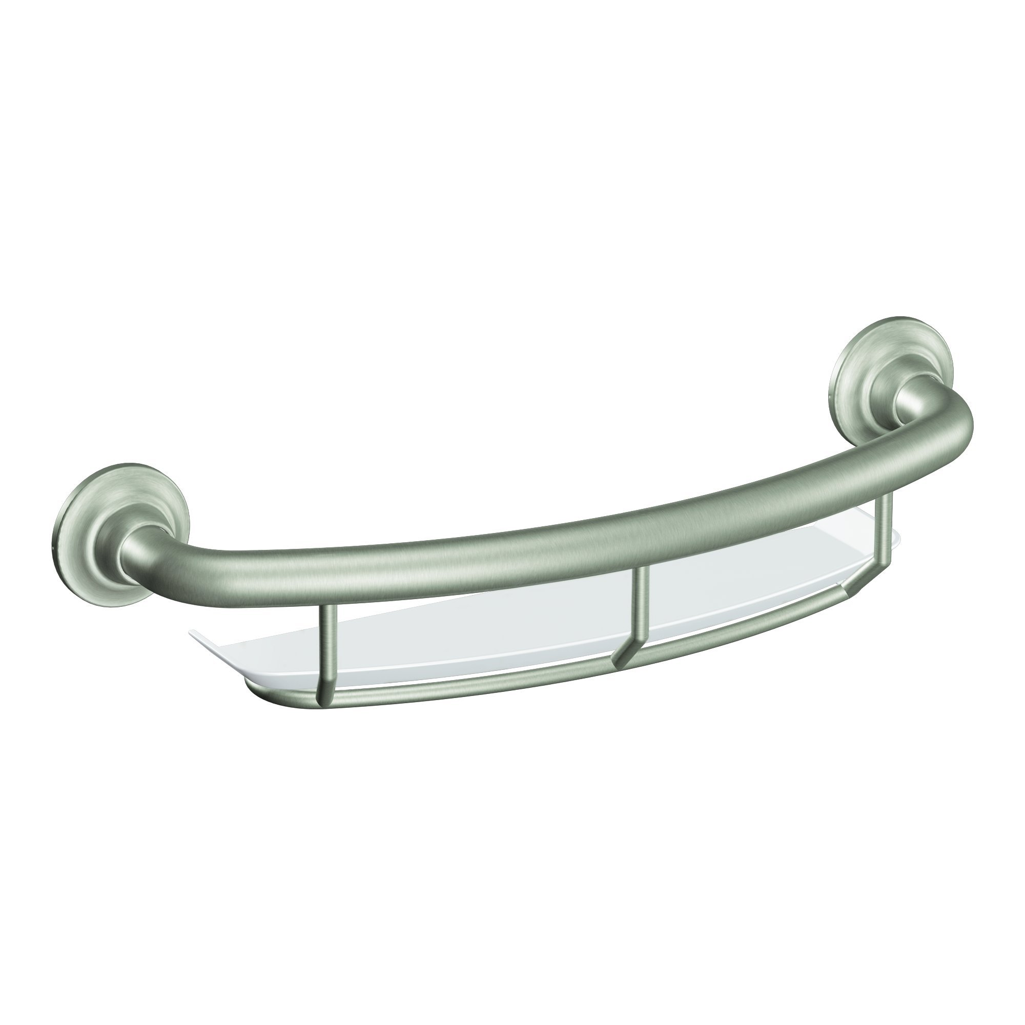 Moen R2356DBN Home Care 16 Inch Grab Bar with Shelf, Brushed Nickel