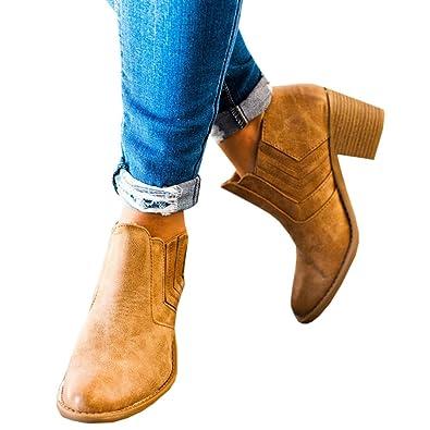 Damen Stiefel mit Absatz Chelsea Leder Kurzschaft Blockabsatz Knöchel  Stiefeletten Slip on 5 cm Elastischer Herbst ab509c78a1