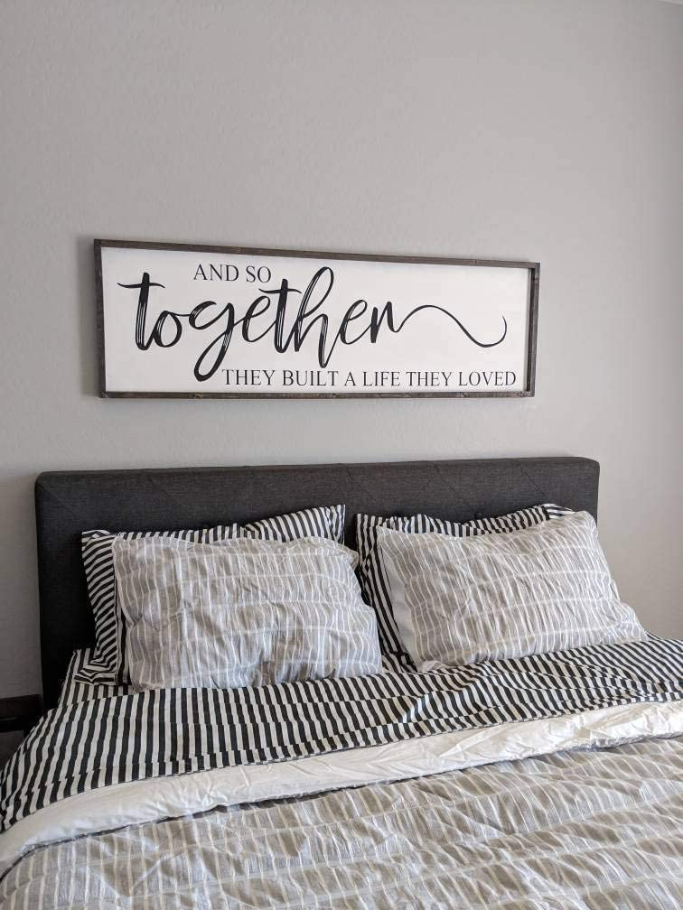 Amazon Com Celycasy And So Together They Built A Life They Loved Large Sign Bedroom Sign Gift For Her Wedding Gift Farmhouse Home Decor Home Kitchen