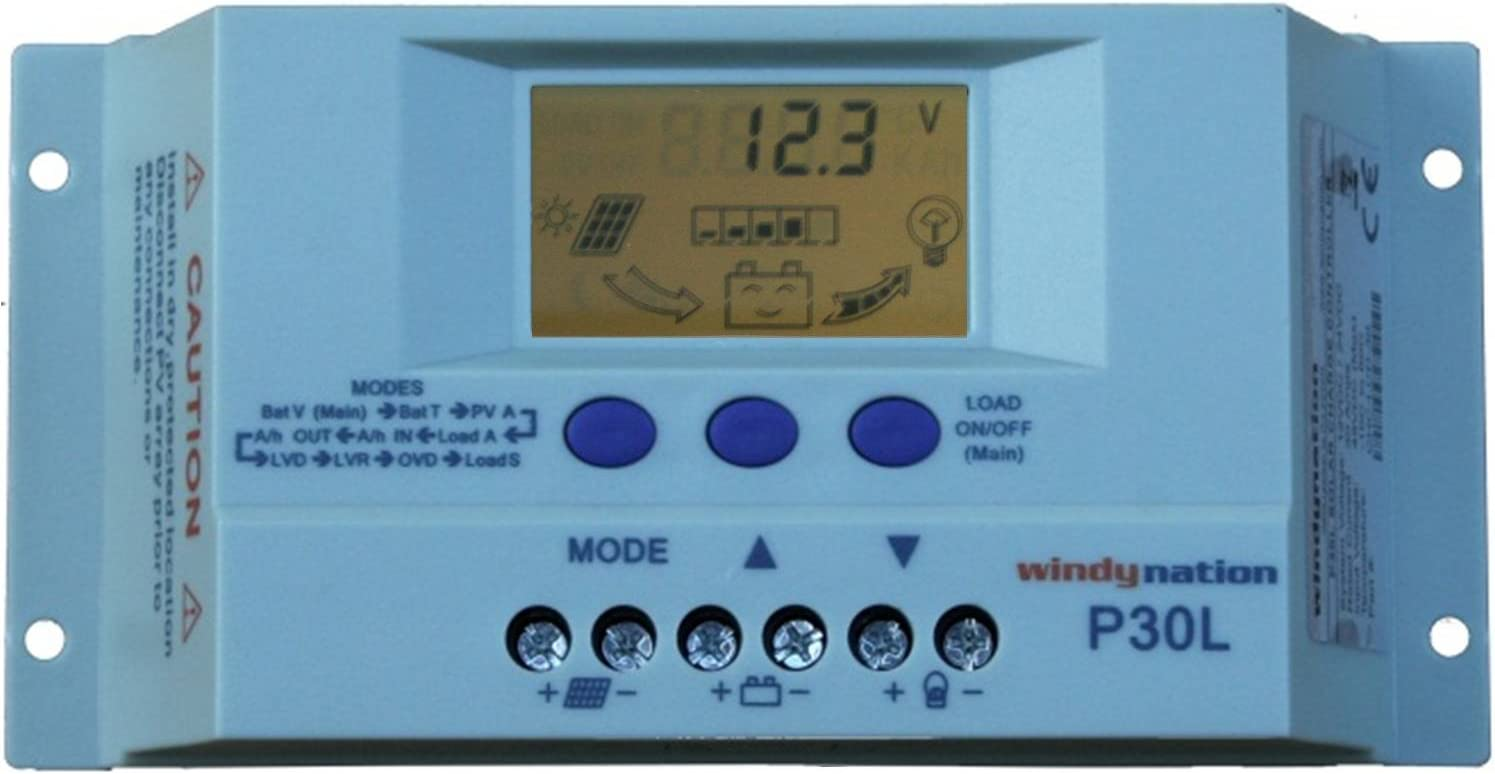 WindyNation P30L LCD 30A PWM Solar Panel Regulator Charge Controller with Digital Display and User Adjustable Settings