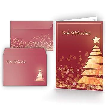 Weihnachtsgrüße Als Tannenbaum.Weihnachtskarten Mit Umschlägen 15er Set Klappkarten Mit Weihnachtsbaum Motiv In Rot Für Die Schönsten Weihnachtsgrüße Frohe Weihnachten