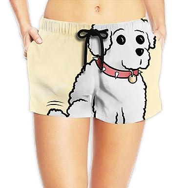 White Dog Wearing A Collar Summer Beach Shorts, Women Sexy ...