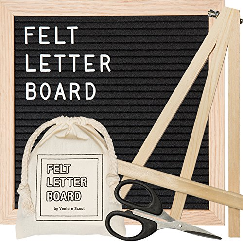Changeable Felt Letter Board - 10x10 inch Oak Frame with Black Felt - Included Accessories: 340 White 3/4 inch Letters and Characters, Drawstring Canvas Bag, Adjustable Wood Stand, and Craft - Customized Frames Online
