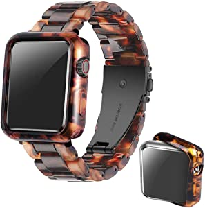 Omter Band with Case Compatible with Apple Watch 44mm 42mm 40mm 38mm, Women Men Fashion Resin Band Strap Compatible with iWatch Series SE/6/5/4,Series 3/2/1(Black Tortoise-Tone, 38mm)