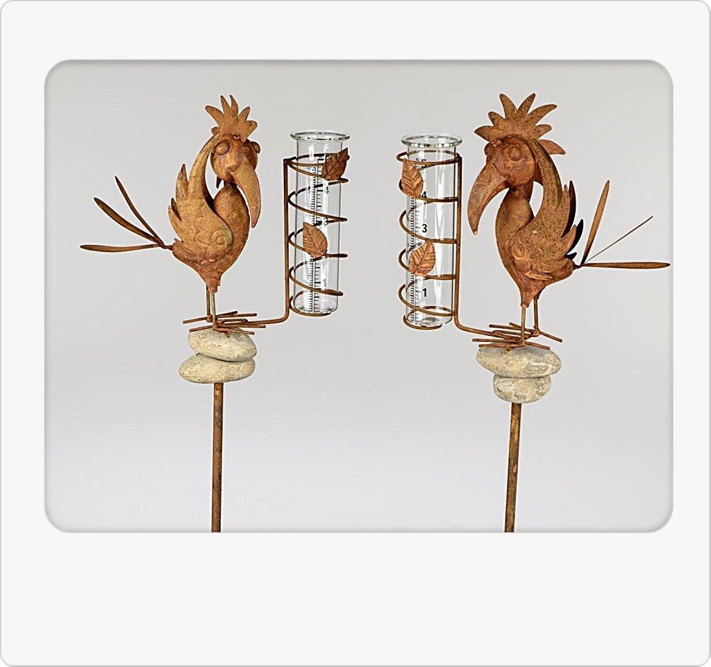 Unbekannt Gartenstecker Stecker mit Regenmesser 130cm Vogel auf Stein 1 Modell Sortiert Bollweg