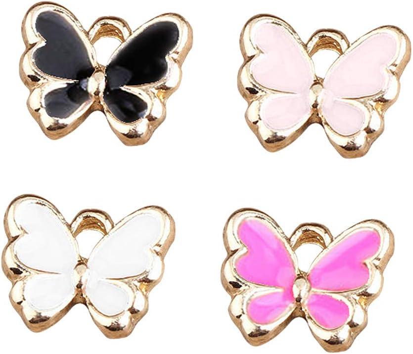 10X Mixed Color Enamel Butterfly Alloy Charm Pendant DIY Jewelry Making Bracelet