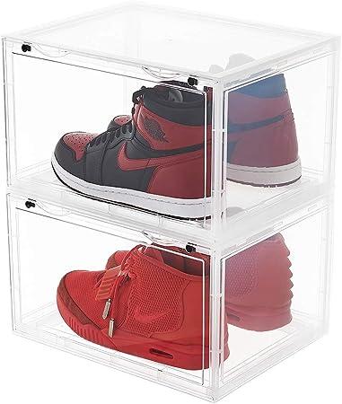 LifestyleEssential – Caja de Zapatos de plástico para Mujer y Hombre, Plegable, apilable, Organizador de Zapatos, Caja Transparente para Zapatos, 2 Cajas Cada Paquete: Amazon.es: Hogar