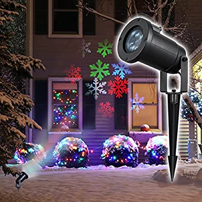 Gemtune Christmas LED Light Projector, Indoor and Outdoor Waterproof Ceiling Projection Decorative Wall Spotlights Night Light Lamp for Xmas Thanksgiving Day Party Home
